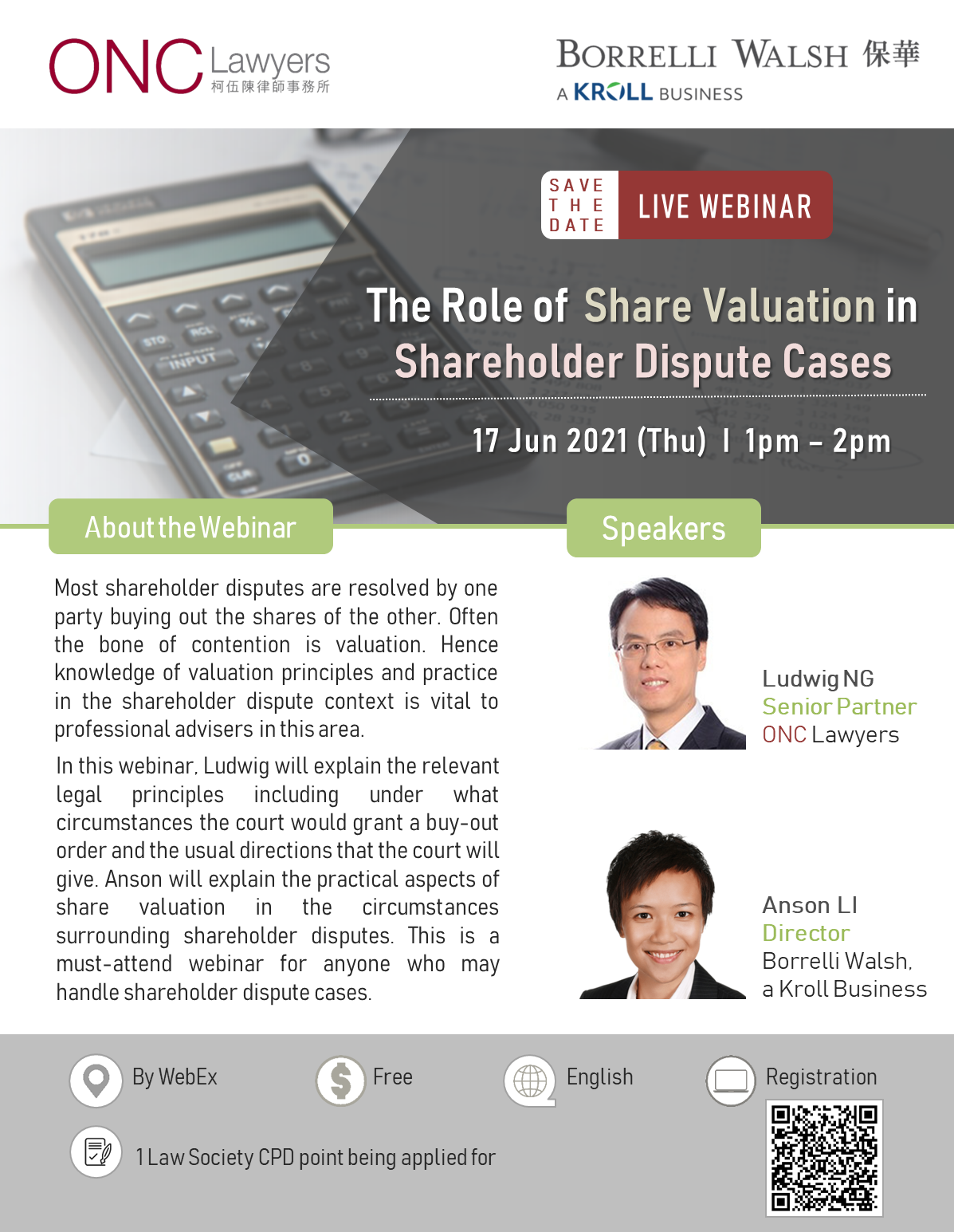 Webinar on The Role of Share Valuation in Shareholder Dispute Cases